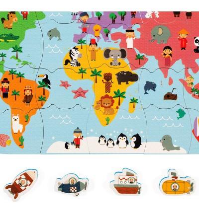 mapa del mundo de baño contenido