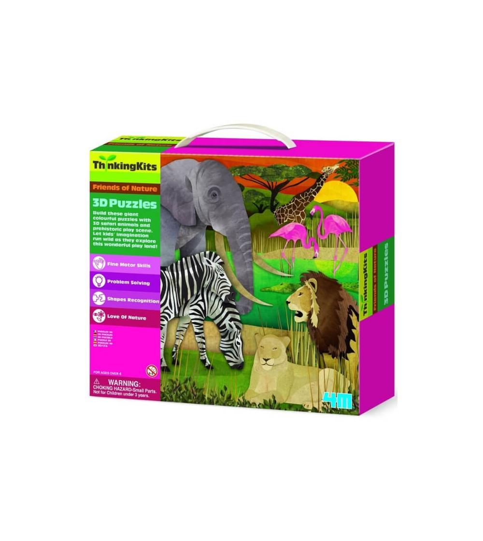 puzzle 3D animales salvajes 4M