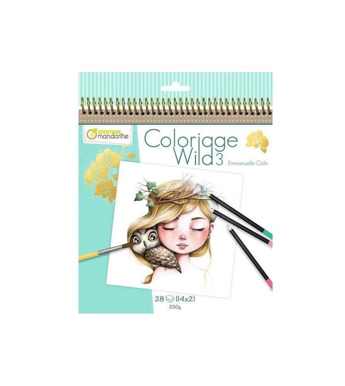 cuaderno colorear wild 3 avenue mandarine