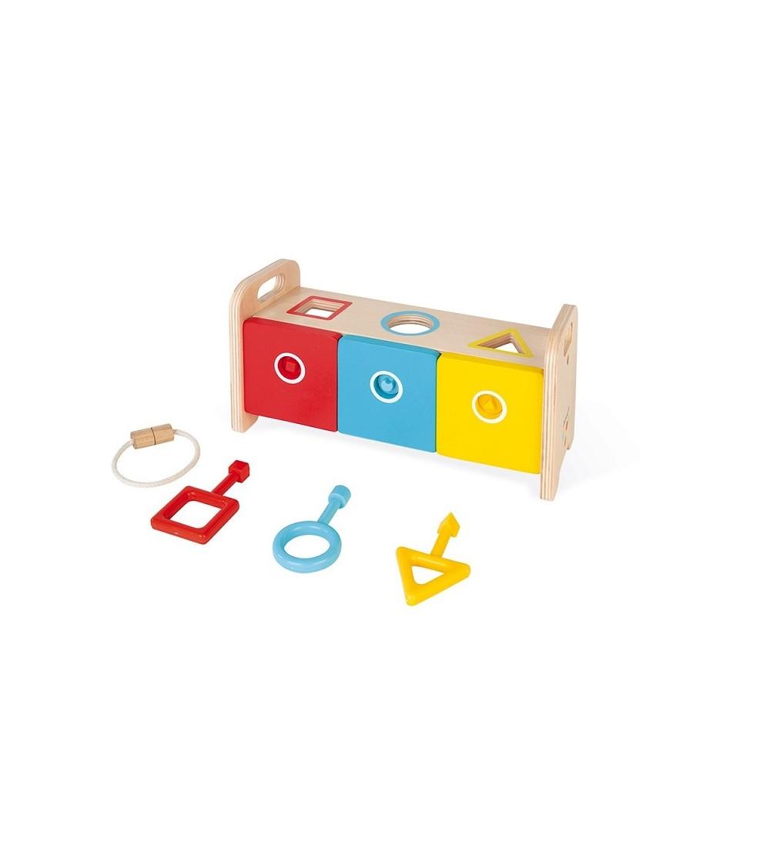 caja con formas geometricas y llaves juego janod