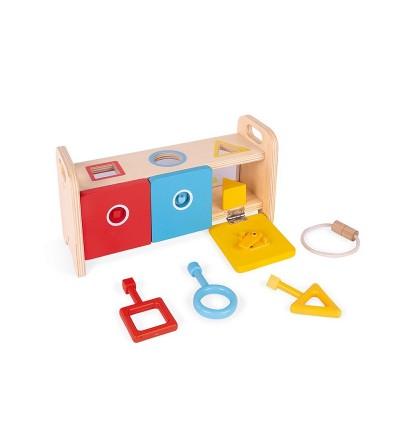 caja con formas geometricas y llaves