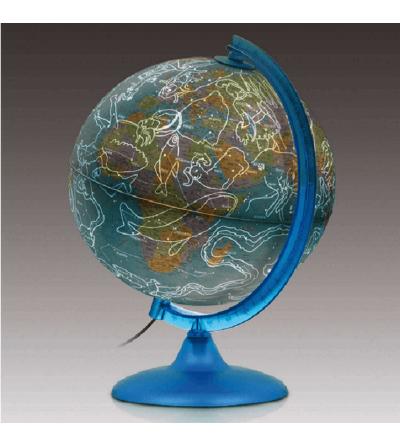 globo terraqueo con signos zodiaco
