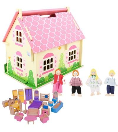 casita de madera amueblada muñecas