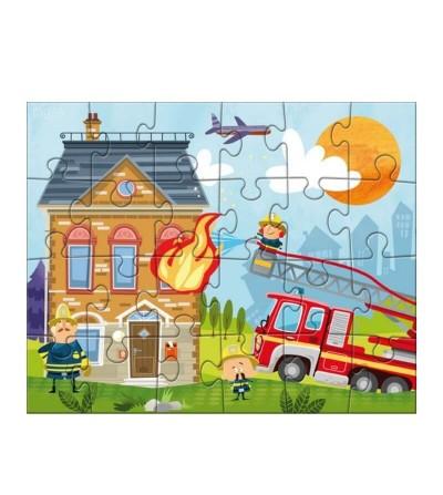 escena puzzle pequeños bomberos