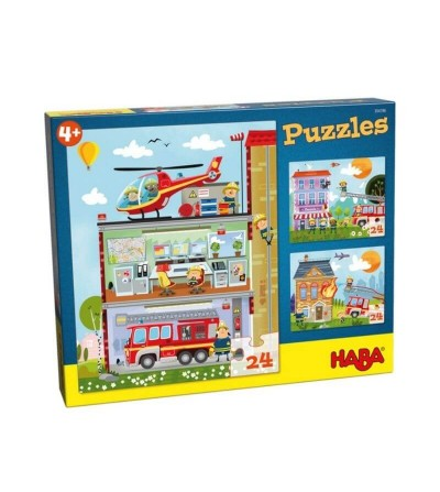 puzzle pequeños bomberos haba