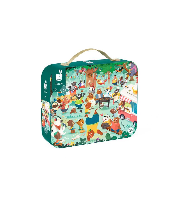 puzzle familia osos janod maletin