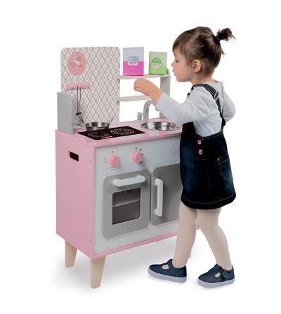 cocinita blanca y rosa janod juego
