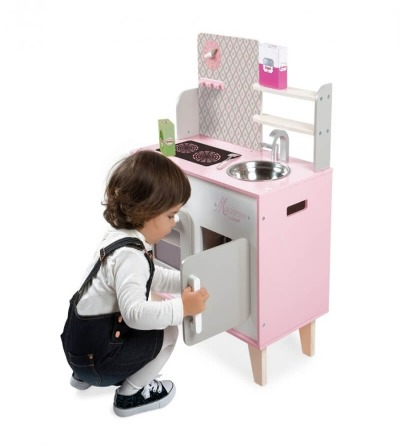 juego cocinita blanca y rosa janod